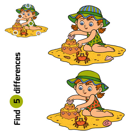 spot: Find differences, education game for children. Little girl builds a sand castle on the beach