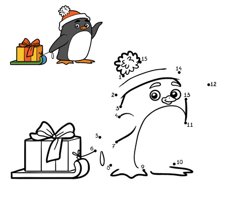 Numbers game for children, dot to dot education game. Little penguin and Christmas gift