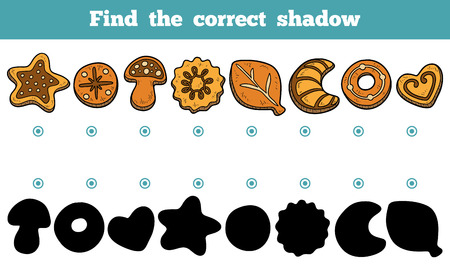 shadow match: Find the correct shadow, education game for chidlren, vector set of cookies