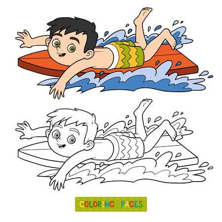 water sport: Coloring book for children. A boy riding a surf Illustration
