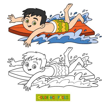 black boys: Coloring book for children. A boy riding a surf Illustration