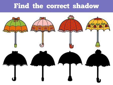 Trouver l'ombre correcte, jeu éducatif pour les enfants. Jeu de parapluies vectorielles