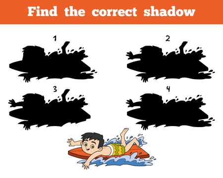 summer holidays: Find the correct shadow, education game for children. A boy riding a surf Illustration