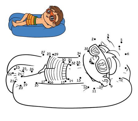day bed: Numbers game for children, dot to dot education game. Little boy on lying inflatable mattress