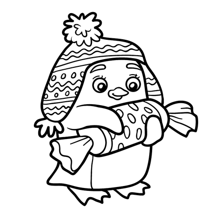 flightless: Coloring book for children, cute penguin with christmas gift