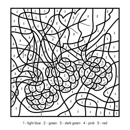Color por el número, juego de la educación para los niños, frambuesa Ilustración de vector