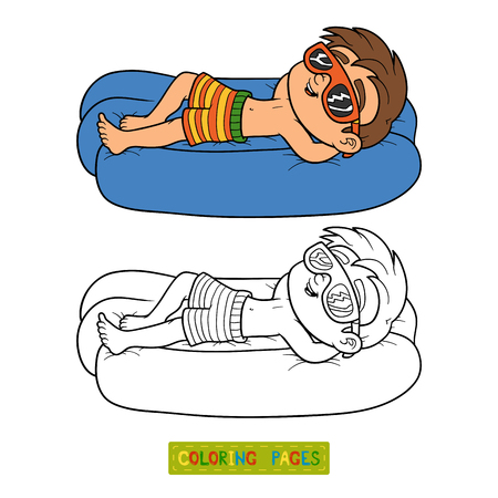 mattress: Coloring book for children. Little boy on lying inflatable mattress Illustration