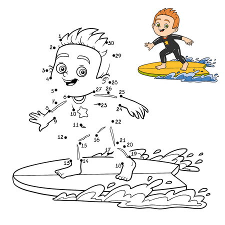 black boys: Numbers game, dot to dot education game for children. A boy riding a surf Illustration