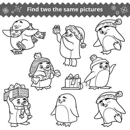 Find two the same pictures, education game for children. Set of penguins with Christmas gifts