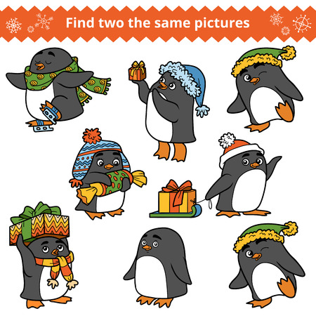 same: Find two the same pictures, education game for children. Set of penguins with Christmas gifts