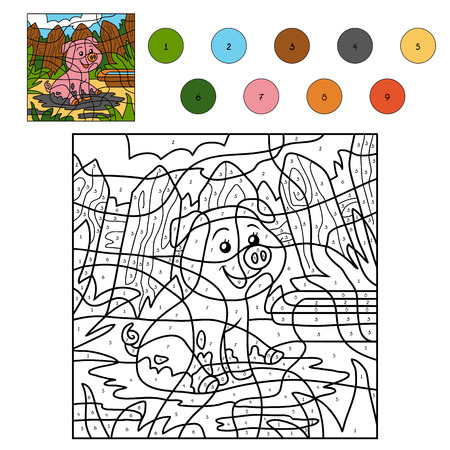 rotund: Color by number, education game for children, pig