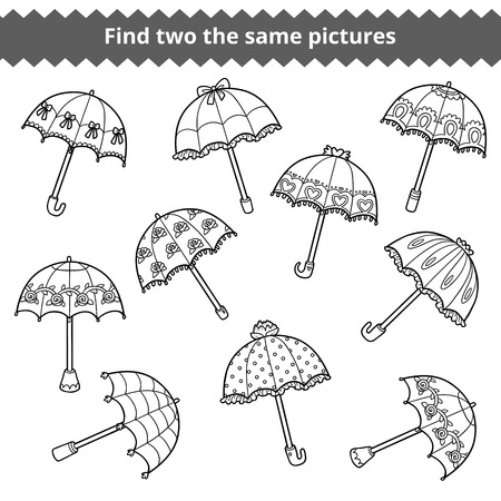 word game: Find two the same pictures, education game for children. Vector set of umbrellas