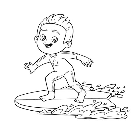 Coloring book for children. A boy riding a surf