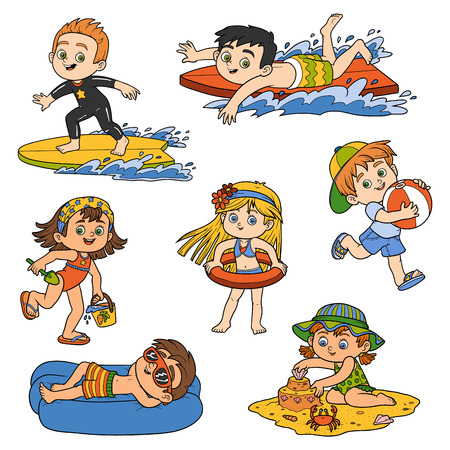 swimwear: Set of cute children on summer vacation, vector collection of summer objects. Happy childhood. Color stickers in cartoon style. Illustration