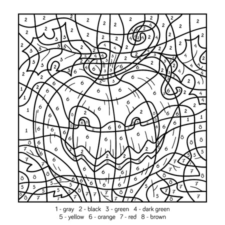 Color by number, education game for children, Halloween pumpkin Illustration