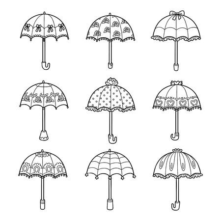 Vector Schwarz-Weiß-Set von Regenschirmen
