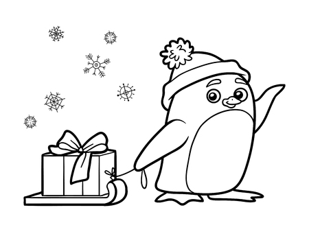 Coloring book for children, cute penguin with christmas gift