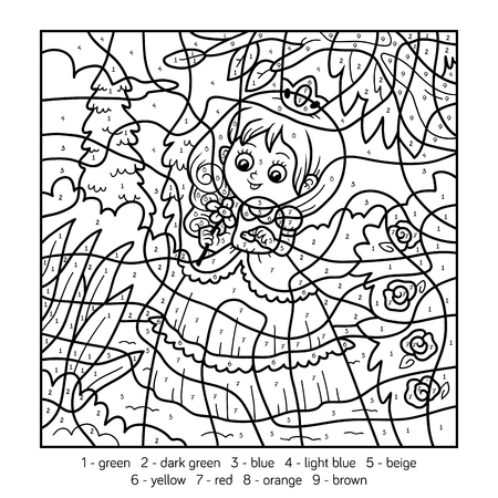 infancy: Color by number, education game for children about princess Illustration