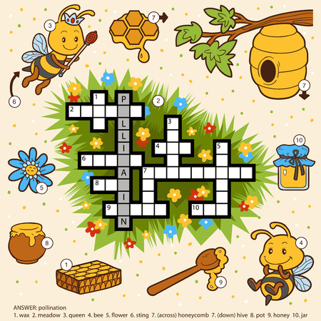 Vector color crossword, education game for children about honey and bees