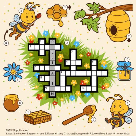 Vector Farbe Kreuzwort, Bildung Spiel für Kinder über Honig und Bienen