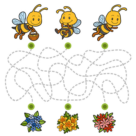 Maze game, education game for children. Help the bees to find their way to the flowers!