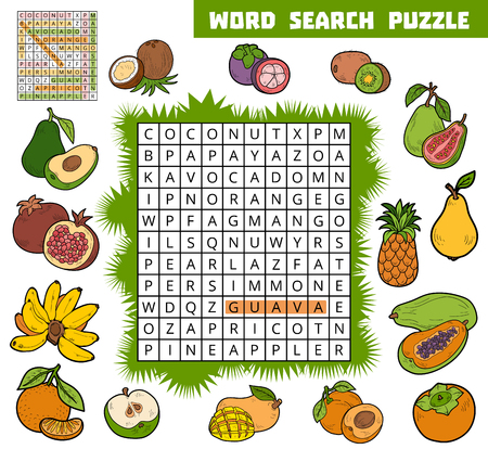 banana sheet: Vector color crossword, education game for children about fruits. Word search puzzle Illustration