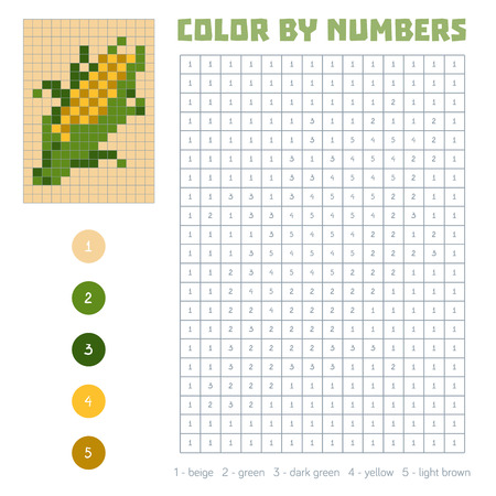 Color by number, education game for children. Fruits and vegetables, corn. Coloring book with numbered squares