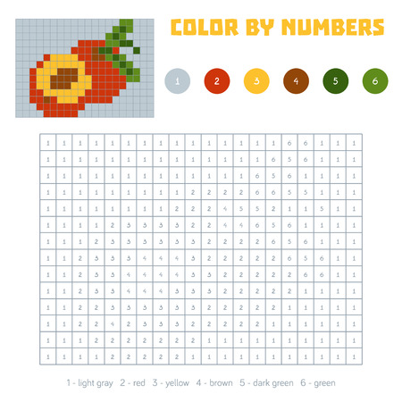 nectarine: Color by number, education game for children. Fruits and vegetables, nectarine. Coloring book with numbered squares