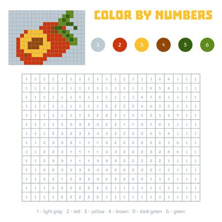 色の数、教育子供のためのゲーム。野菜や果物、ネクタリン。番号の付いた正方形の塗り絵