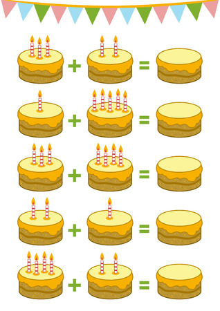 Counting Game voor kleuters. Educatief een wiskundig spel. Tel de getallen in de afbeelding en schrijf het resultaat. toevoeging werkbladen