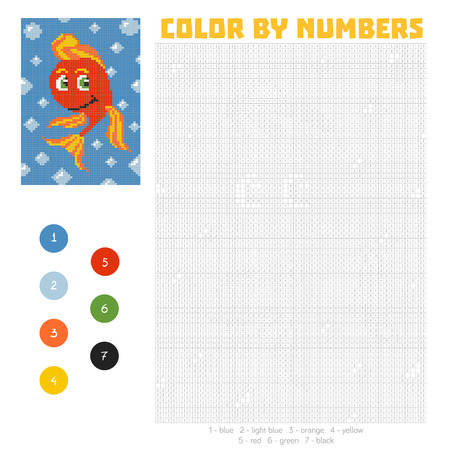 Color by number, education game for children. Cute fish character. Coloring book with numbered squares Vettoriali
