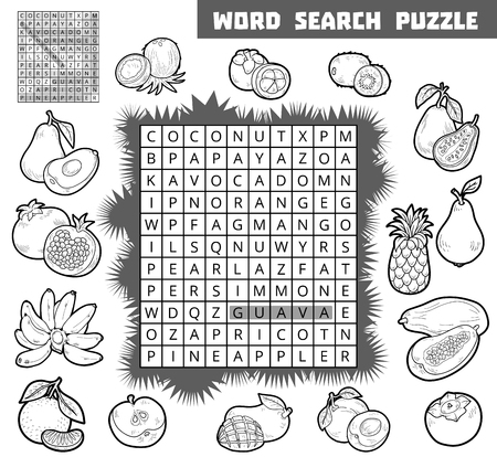 banana sheet: Vector black and white crossword, education game for children about fruits. Word search puzzle Illustration