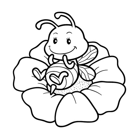 Coloring book for children, coloring page with a small bee