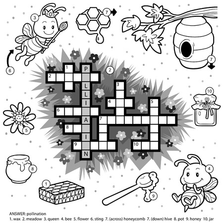 colorless: Vector colorless crossword, education game for children about honey and bees Illustration