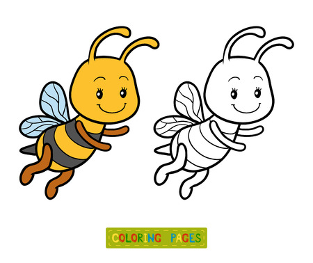 coloration: Coloring book for children, coloring page with a small bee