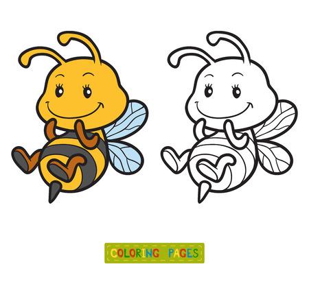 Kleurboek voor kinderen, kleurplaat met een kleine bijen Stock Illustratie