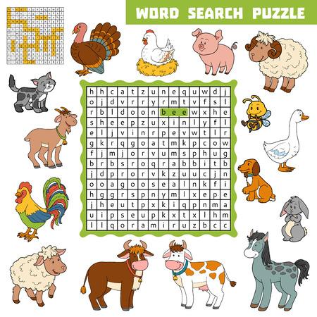 Vector Farbe Kreuzwort, Bildung Spiel Für Kinder über Nutztieren ...