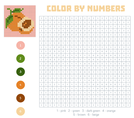 apricot: Color by number, education game for children. Fruits and vegetables, apricot. Coloring book with numbered squares