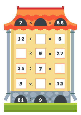 Counting Game for Preschool Children. Educational a mathematical game. Count the numbers in the picture and write the result. Tasks for addition and subtraction
