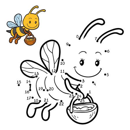 Spel van nummers, dot onderwijs spel te stippelen voor kinderen over bijen