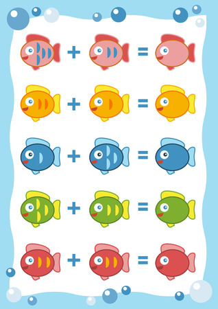 Counting Game for Preschool Children. Educational a mathematical game. Count the numbers in the picture and write the result Zdjęcie Seryjne - 60596649