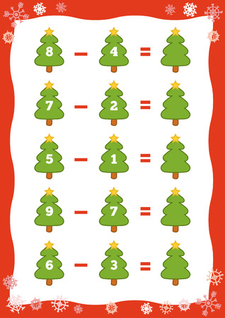enumerate: Counting Game for Preschool Children. Educational a mathematical game. Count the numbers in the picture and write the result. Subtraction worksheets