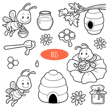 Set of cute animals and objects, vector family of bees. Black and white set with characters bees, beehives and honey Ilustração