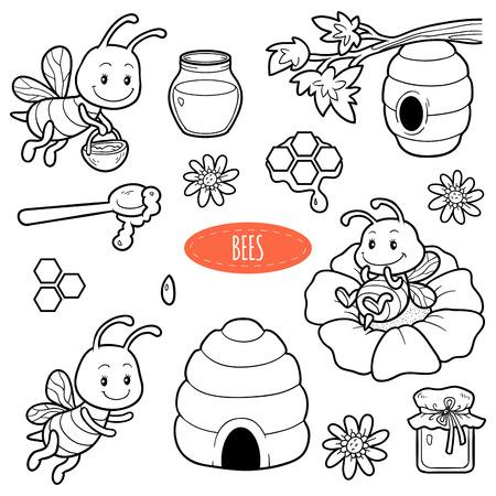 Set van schattige dieren en objecten, vector familie van bijen. Zwart-wit set met personages bijen, bijenkorven en honing Stock Illustratie
