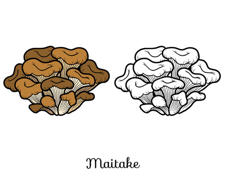 black and white leaf: Coloring book for children. Japanese edible mushrooms, maitake