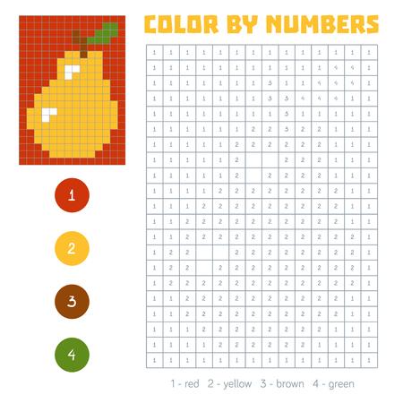 色の数、教育子供のためのゲーム。野菜や果物、梨。番号の付いた正方形の塗り絵