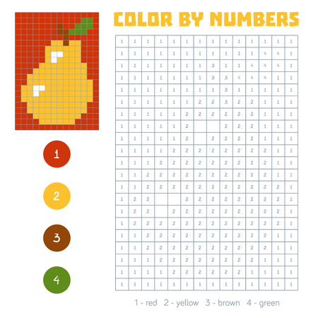 Color by number, education game for children. Fruits and vegetables, pear. Coloring book with numbered squares