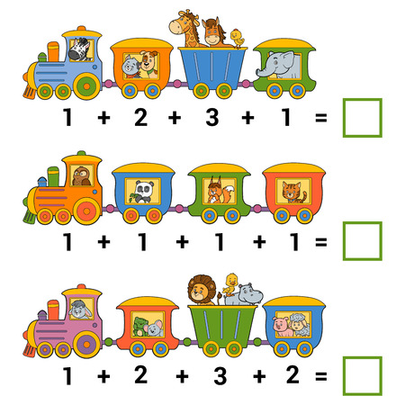 addition: Counting Game for Preschool Children. Educational a mathematical game. Count the animals on the train and write the result. Tasks for addition Illustration