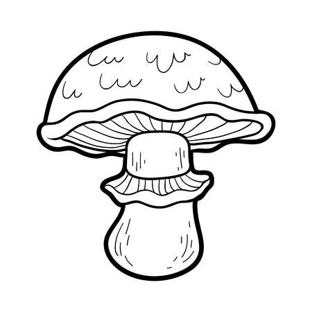 the fungus: Coloring book for children. Edible mushrooms, portobello