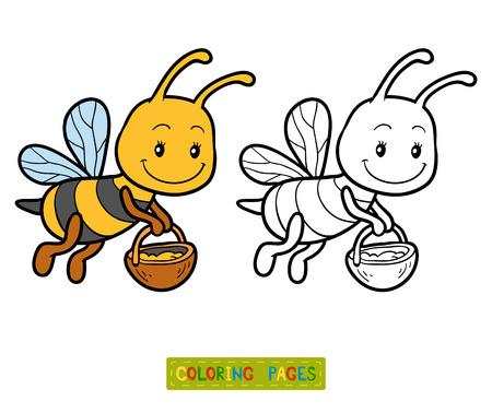 Malbuch für Kinder, Malvorlagen mit einer kleinen Biene Standard-Bild - 60596663